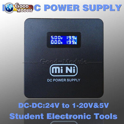 LCD Mini DC Power Supply USB Step Down Converter 24V To 1-20V Adjustable Arduino