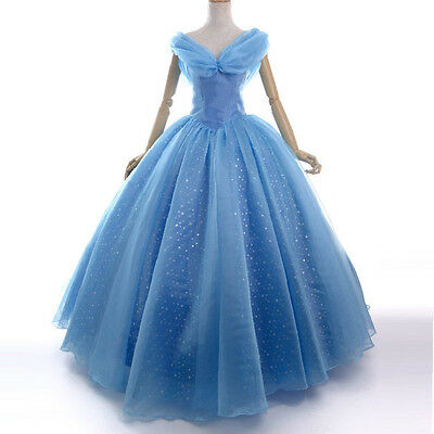 Deluxe Princess Cinderella Cosplay Costume Adult Prom Ball Gown party Dress blue