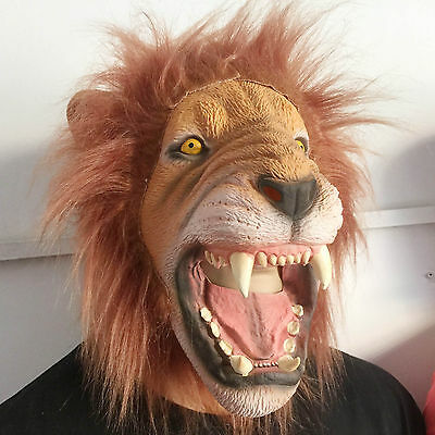 Masquerade Halloween Animal Lion King Latex Mask Adult Costume Party Prop Dress