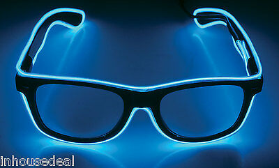 Flashing LED Light Up Glasses Glow Party Blue Pink Rave Funglasses