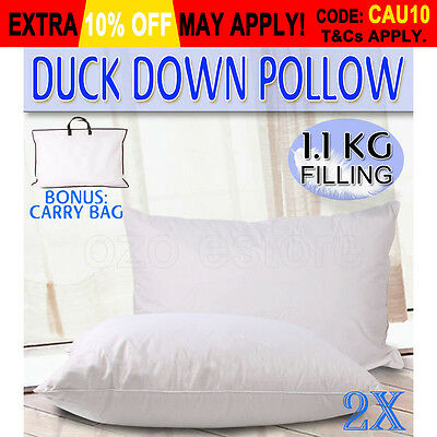 2x Duck Down Feather Pillow Cotton Cover Twin Twin Pack White 1100g 1.1kg Each