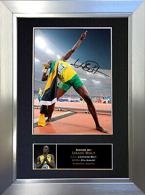 USAIN BOLT Signed Autograph Mounted Photo Repro A4 Print no266