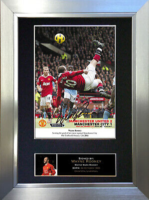 WAYNE ROONEY Overhead kick Signed Autograph Mounted Photo Repro A4 Print no55