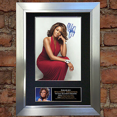 WHITNEY HOUSTON Signed Autograph Mounted Photo Reproduction A4 Print 213