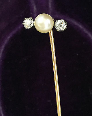 Exquisite, Edwardian 18ct, 750 Gold & Platinum old-cut Diamond & Pearl stick pin