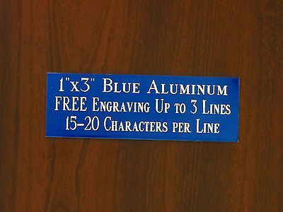 "FREE CUSTOM ENGRAVED 1""x3"" BLUE NAME PLATE ART-TROPHIES-GIFT-TAXIDERMY-FLAG CASE"