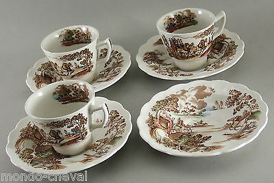 3 TASSES ET 4 SOUCOUPES ANGLAISES, faïence, chevaux, diligence, shabby chic