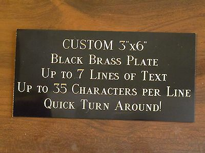 "Custom Engraved Plate BRASS 3""x6"" Custom Name Plate Plaque Art Label Tag Gift"