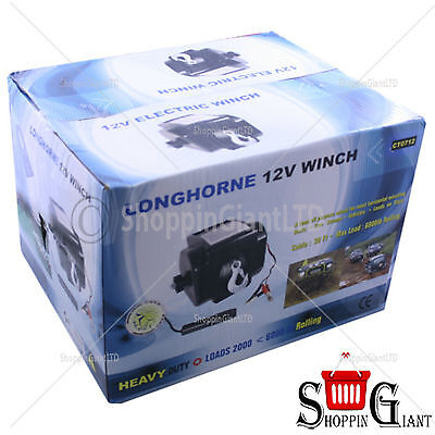 12V Boat Trailer Winch 900kg 2000lb 12 Volt Portable Recovery Electric Winch
