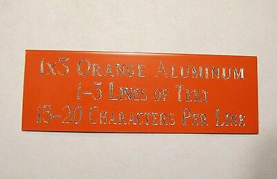 "FREE CUSTOM ENGRAVED 1""x3"" ORANGE NAME PLATE ART-TROPHIES-TAXIDERMY-FLAG CASE"