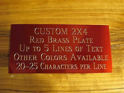 """Custom Engraved Plate Red Brass 2""""x4"""" Custom Name Plate Plaque Art Label Tag"""