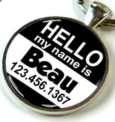 """Hello My Name is Round 1.5"""" inch CUSTOM Pet ID Tags dog cat"""