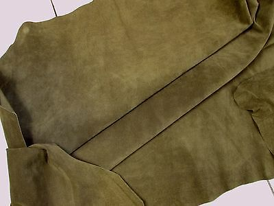 Fine pig skin suede Moss green pigsuede H383  BARKERS LEATHERCRAFT HIDES