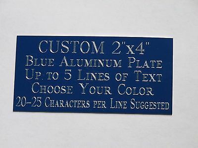 "Custom Engraved Plate Blue Aluminum 2""x4"" Custom Name Plate Plaque Art Label Tag"