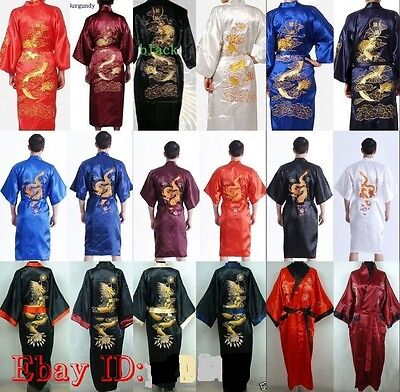 Men's Silk/Satin Japanese Chinese Kimono Dressing Gown Bath Robe Nightwear