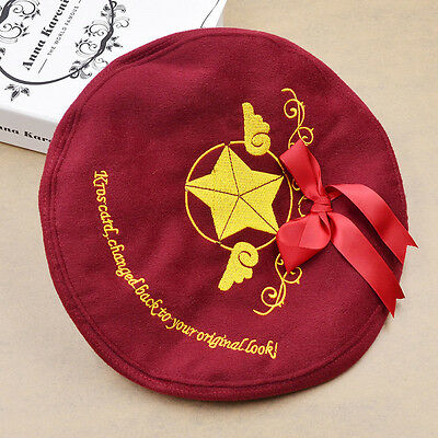 Wine Red Beret Japanese Anime Card Captor Sakura Cosplay Bow-knot Hat for Women