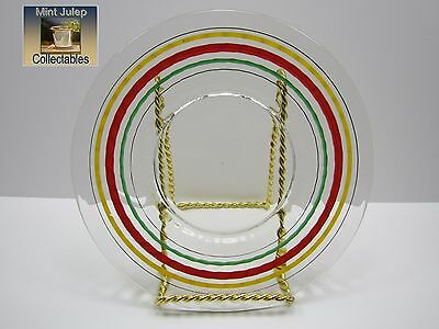 Anchor Hocking Banded Ring Ribbed Clear Glass Plate