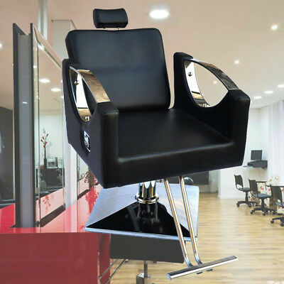 Black Adjustable Hydraulic Pump Barber Reclining Salon Chair Hairdressing Beauty
