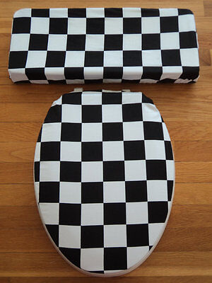 Black White Checkered Flag Nascar Bathroom Racing Decor .. Toilet Seat Cover Set