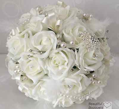 wedding flowers Ivory rose bouquet bride bridesmaid Buttonhole posy feather wand