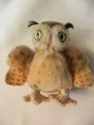 Vintage Small Stuffed Steiff Wittie Owl - With Stand - Sweet