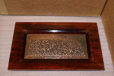 Grundwald 1410 Embossed Copper Plaque In Wooden Frame Tray