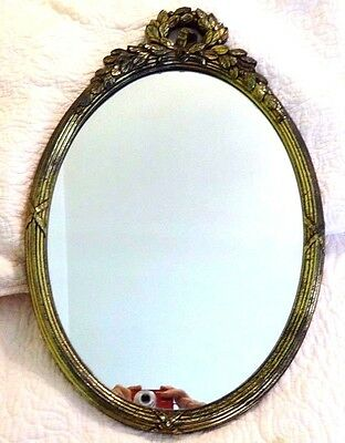 Small Vintage Wall Mirror Oval Plastic Ornate Frame