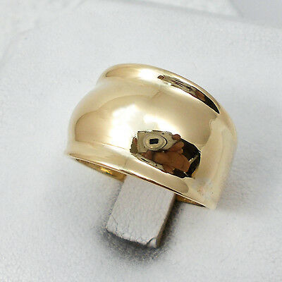 NEW Solid 10K Yellow Gold Cigar Dome Statement Ring Band 14mm, Sizes 5 - 12
