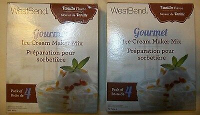 BRAND NEW West Bend Gourmet VANILLA  Ice Cream Maker Mix LOT of 2    4-pk boxes
