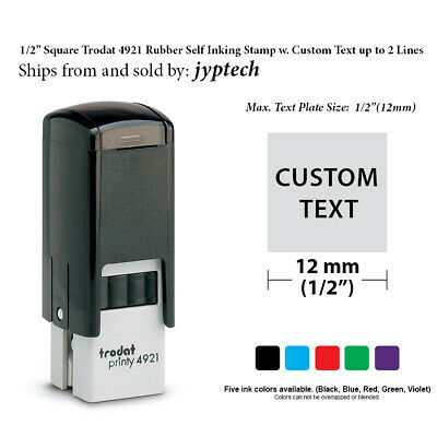 "1/2"" Square Trodat 4921 Rubber Self Inking Stamp w. Custom Text up to 2 Lines"
