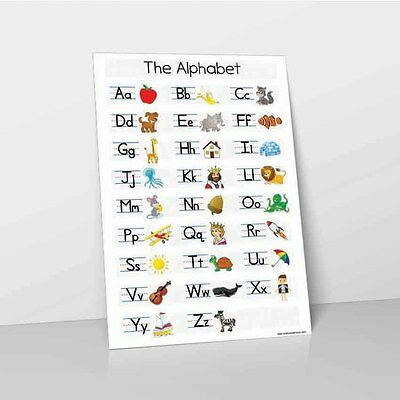 Alphabet Learn Childrens Revision Poster Wall Chart Abc Childs White Kids A-Z