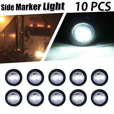 "10x 3/4"" White LED Bullet Boat Truck Trailer Side Marker Turn signals Light 12V"