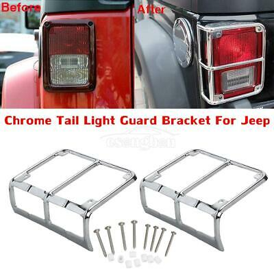 For 07-15 Jeep Wrangler JK Chrome Billet Tail Light Guards Covers Protector