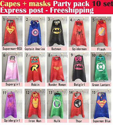 KIDS Cape & Mask Superhero Boy/Girl Party Costume Set Superman Batman Spiderman