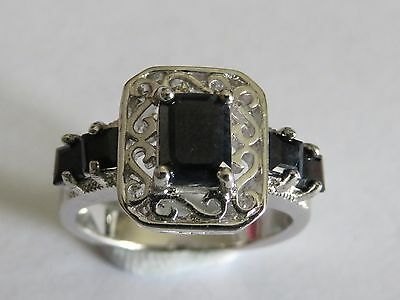 Sterling Silver  925 - SQUARE 5 STONE SAPHIRE  Ring -  Size 7 US -  N1/2 AU