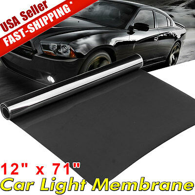 "12""x71"" Dark Black Car Gloss Headlight Taillight Fog Light Vinyl Tint Film Sheet"