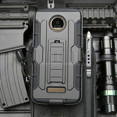 For Motorola Moto Z / Z Force Droid Shockproof Rubber Holster Protect Case Cover