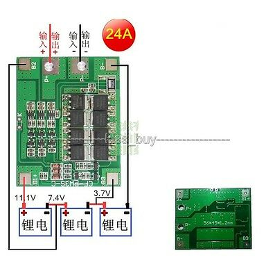 3S cell 24A Li-ion Lithium Battery 18650 Charger batteries Protection Board