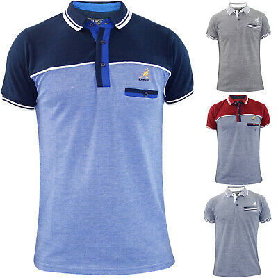 6aff4693 New Men Kangol Designer Polo Collar Premium Quality Chest Pocket T Shirt Top