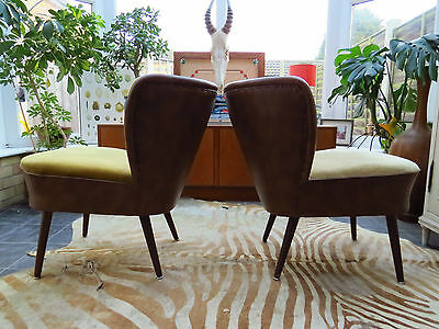 Pair Of Vintage Cream And Brown East German Cocktail Chairs Circa 1975 (A16/11)