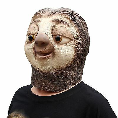 Halloween Fancy Dress Masquerade Party Costume Latex Mask Zootopia Sloth Mask