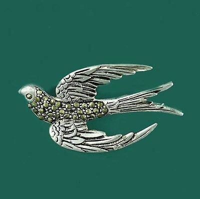 Flying Swallow Bird Brooch Pin Set with Marcasite 1950s Vintage Style Rockabilly