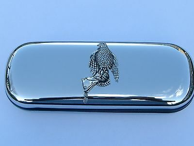 Hawk/Falcon on glove brand new chrome glasses case make a great gift Christmas
