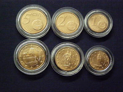 San Marino Small Coin Set 1 Cent - 5 Cents - Unc