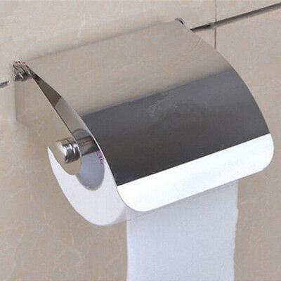 Wall Mounted Bathroom Stainless Steel Toilet Paper Holder Roll Tissue Box NEW NB