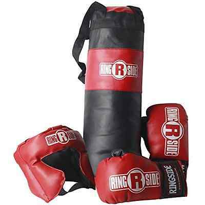 Youth Punching Bag Boxing  MMA Martial Kids Standing Heavy Headgear Glove Set