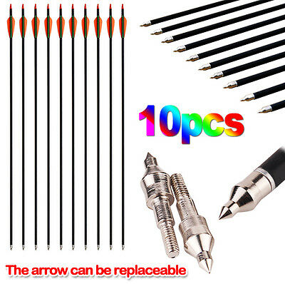 10x Fiberglass Arrow Tip Recurve 15-80LB Target Hunting Compound Bow Screw
