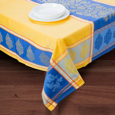 NEW French Linen Caprice Jacquard Yellow Treated Tablecloth