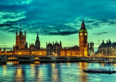 London Houses Of Parliament New A3 Canvas Giclee Art Print Poster