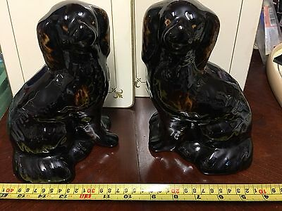 PR LARGE STAFFs BLACK/TAN POT,WALLY SPANIEL MANTLE DOGS terracotta/red Clay